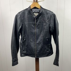 Harley Davidson Genuine Leather Studded Wing Back Riding Jacket